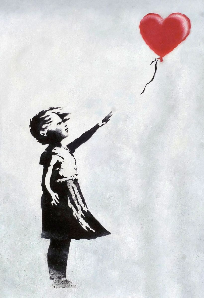 Homage to Banksy - Girl with balloon d96289 60x90cm exquisites Ölgemälde