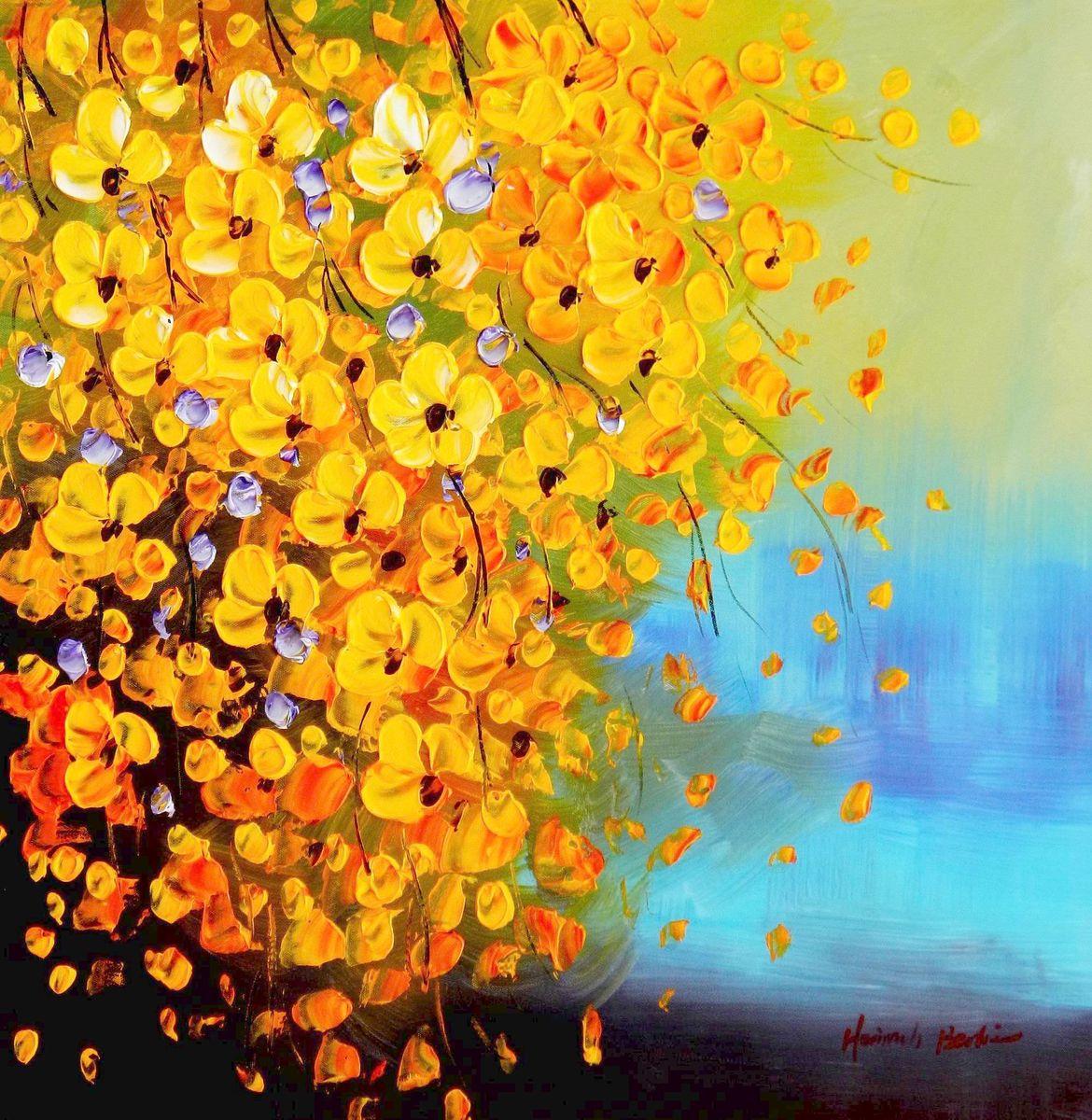 Modern Art - Gelbe Blüten Flavo Flores e96076 60x60cm abstraktes Ölbild