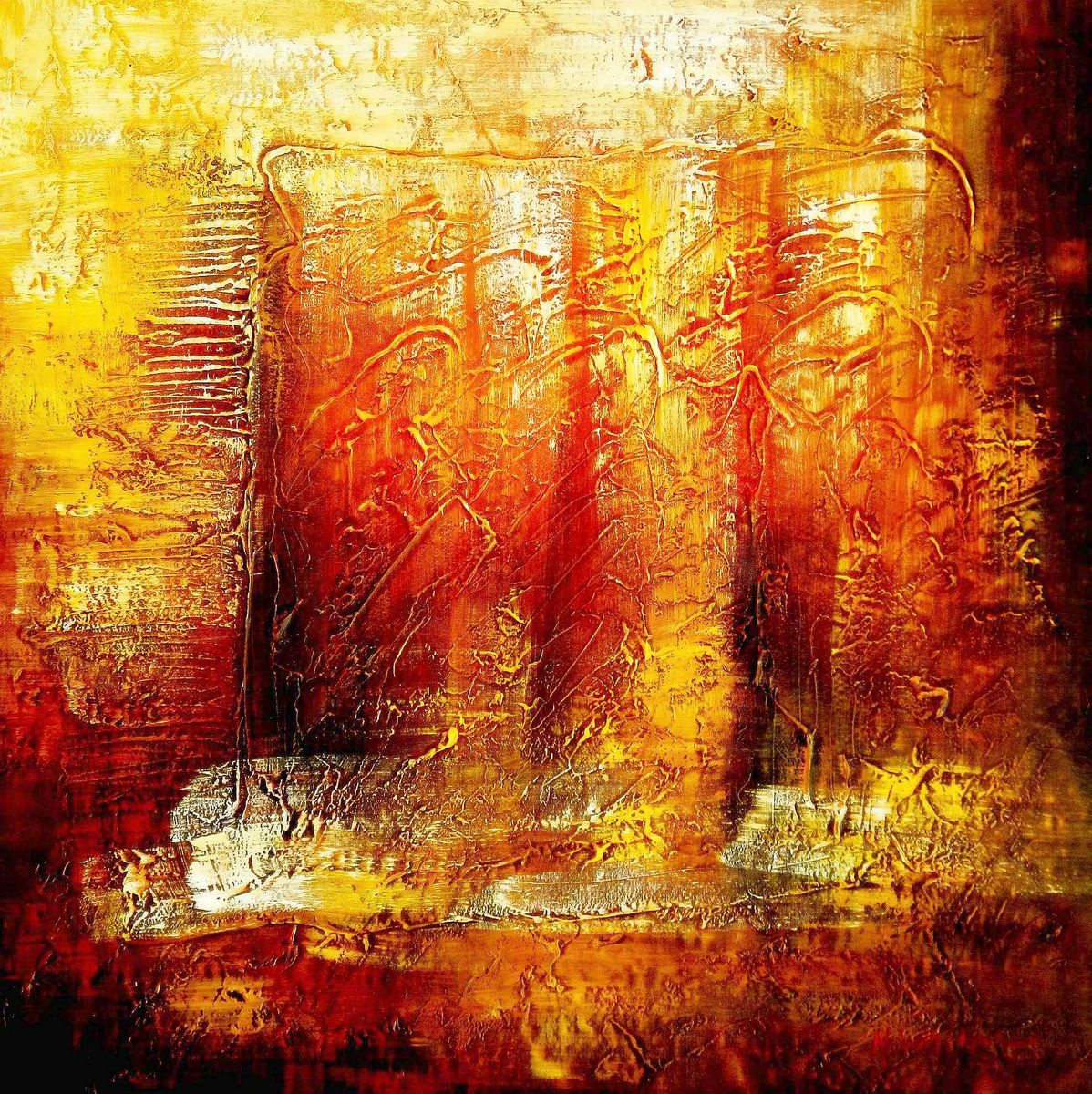 Abstract - Legacy of Fire III g96171 80x80cm abstraktes Ölbild handgemalt