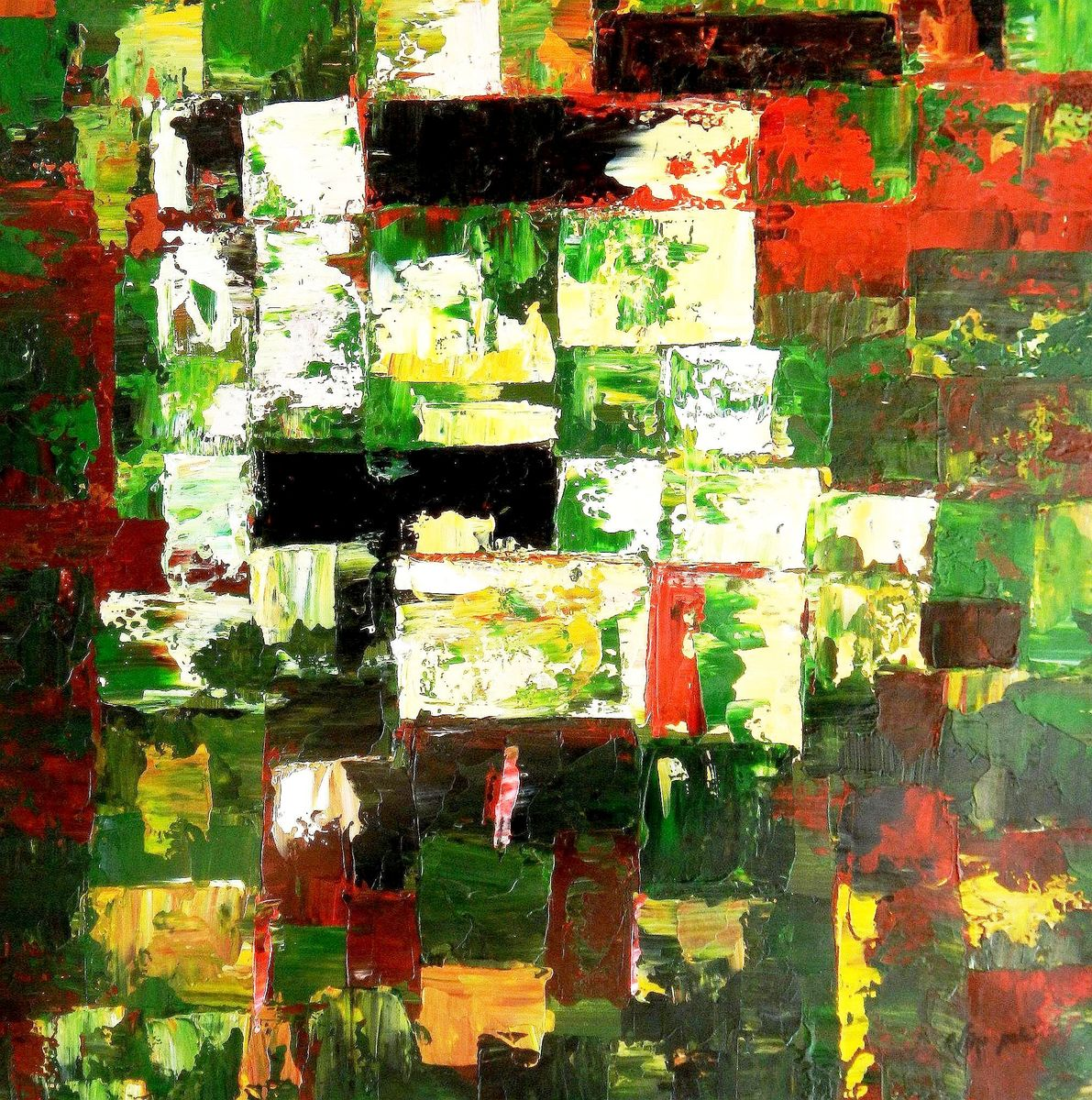 Abstrakt - Berlin Tiergarten g96174 80x80cm abstraktes Ölbild handgemalt