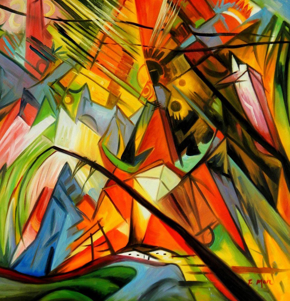 Franz Marc - Im schönen Land Tirol g96179 80x80cm Expressionismus Ölgemälde