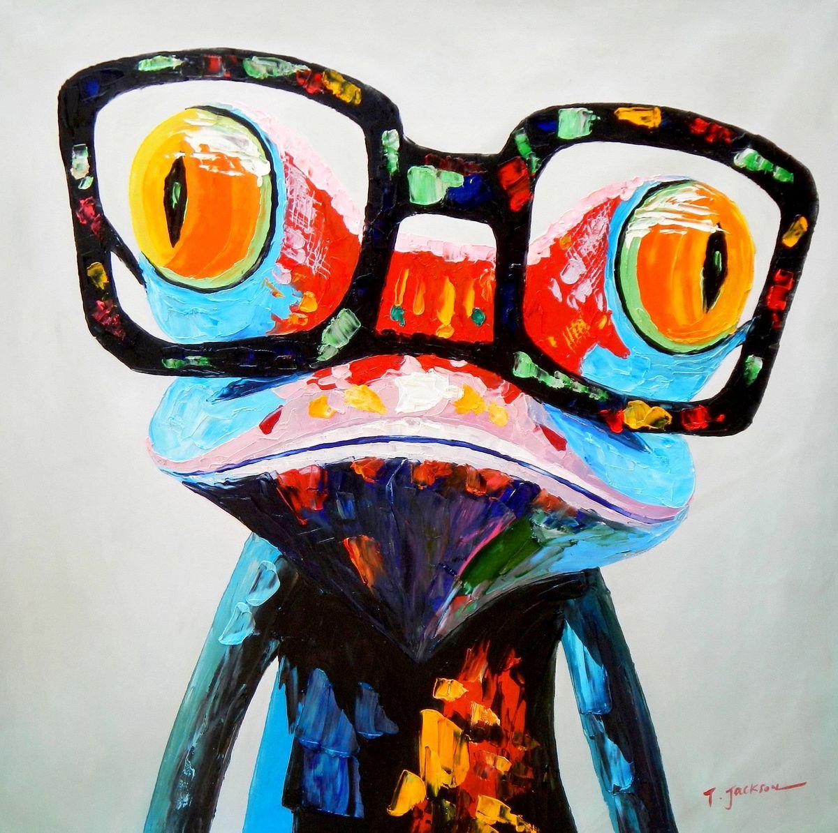 Modern Art - Woody der Frosch h96291 90x90cm fantastisches Ölbild