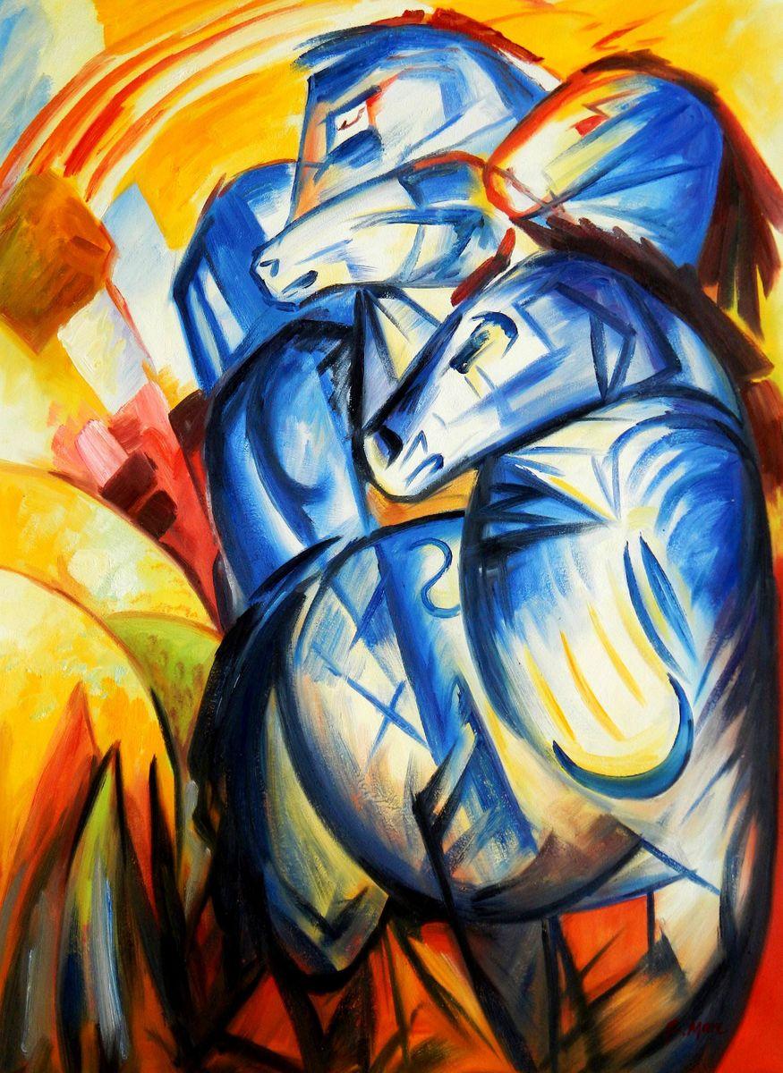 Franz Marc - Turm der blauen Pferde i96105 80x110cm Expressionismus Ölgemälde handgemalt