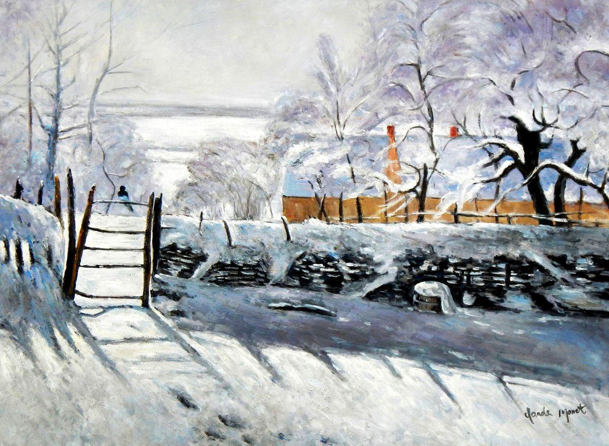 Claude Monet - Die Elster i96109 80x110cm handgemaltes Ölgemälde