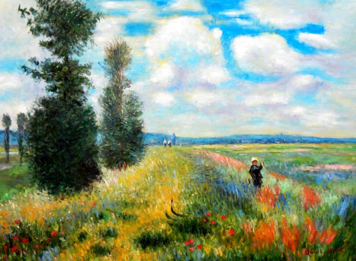 Claude Monet - Mohnblumenfeld bei Argenteuil i96110 80x110cm Ölbild handgemalt