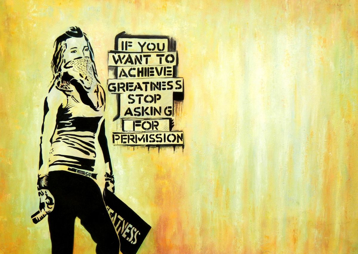 Homage to Banksy - Achieve greatness i96126 80x110cm exquisites Ölbild