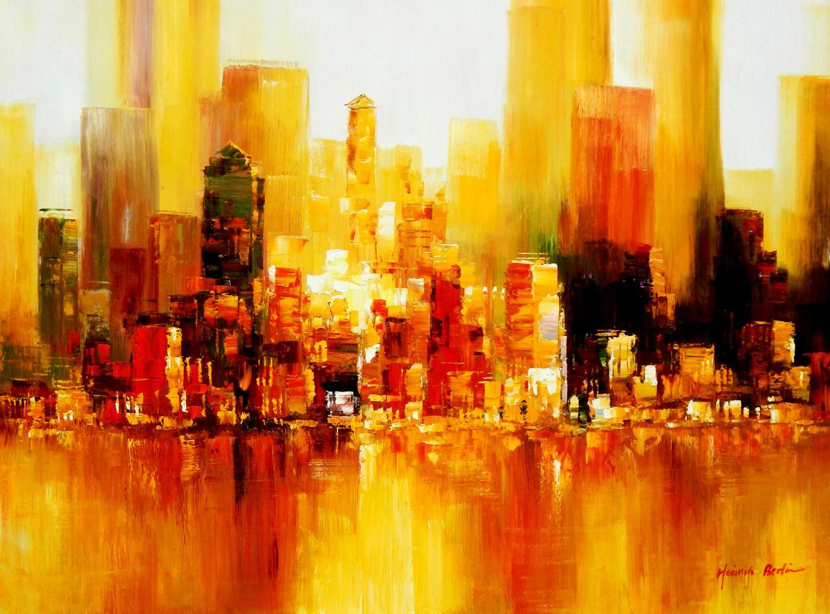 Abstrakt New York Skyline am Abend k96153 90x120cm imposantes Ölgemälde