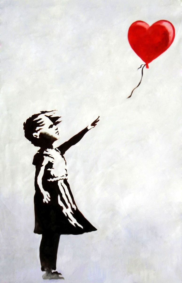 Homage to Banksy - Girl with balloon p96267 120x180cm exquisites Ölgemälde