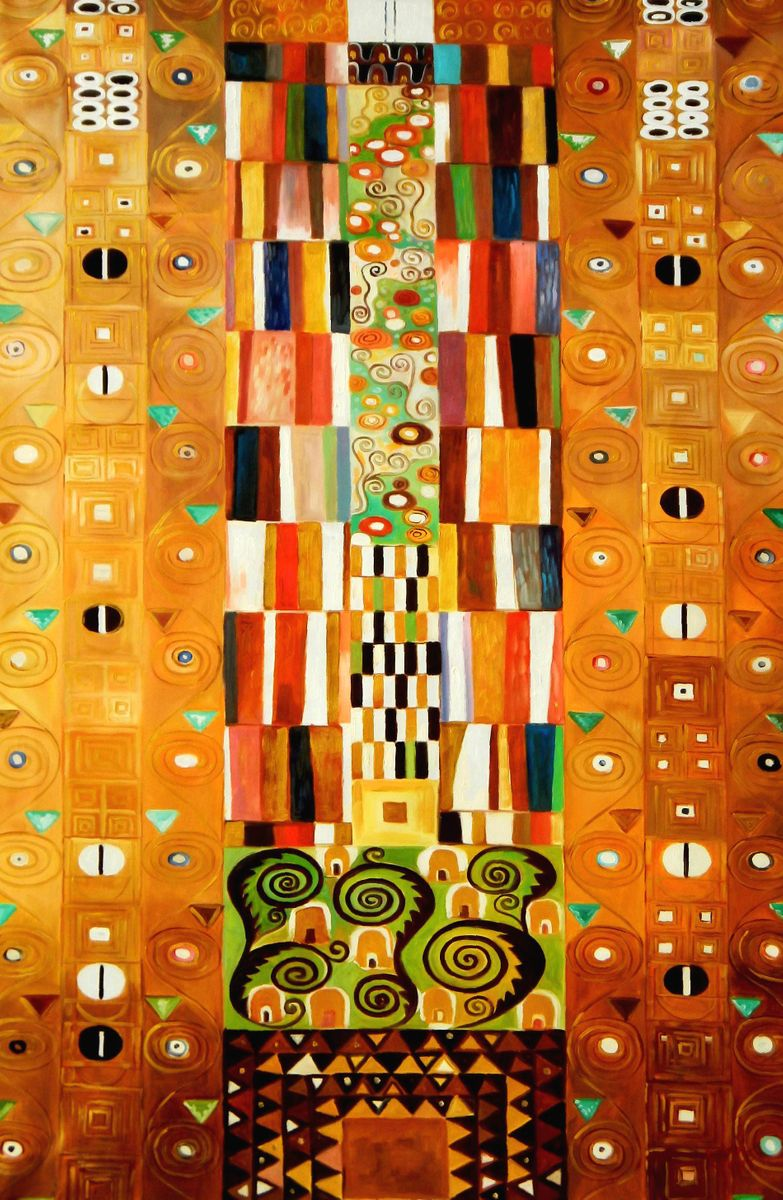 Gustav Klimt - Pattern for the Stoclet Frieze p96268 120x180cm meisterhaftes Ölgemälde Jugendstil