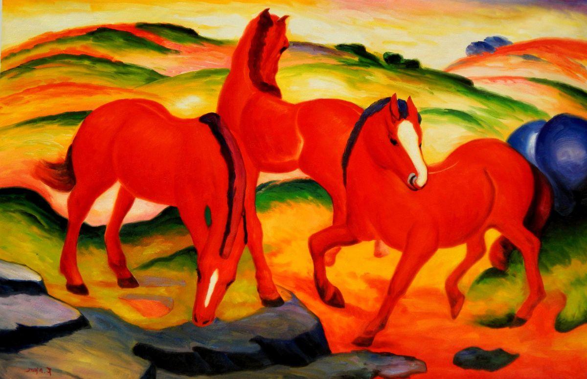 Franz Marc - Weidende Pferde p96275 120x180cm Ölgemälde handgemalt