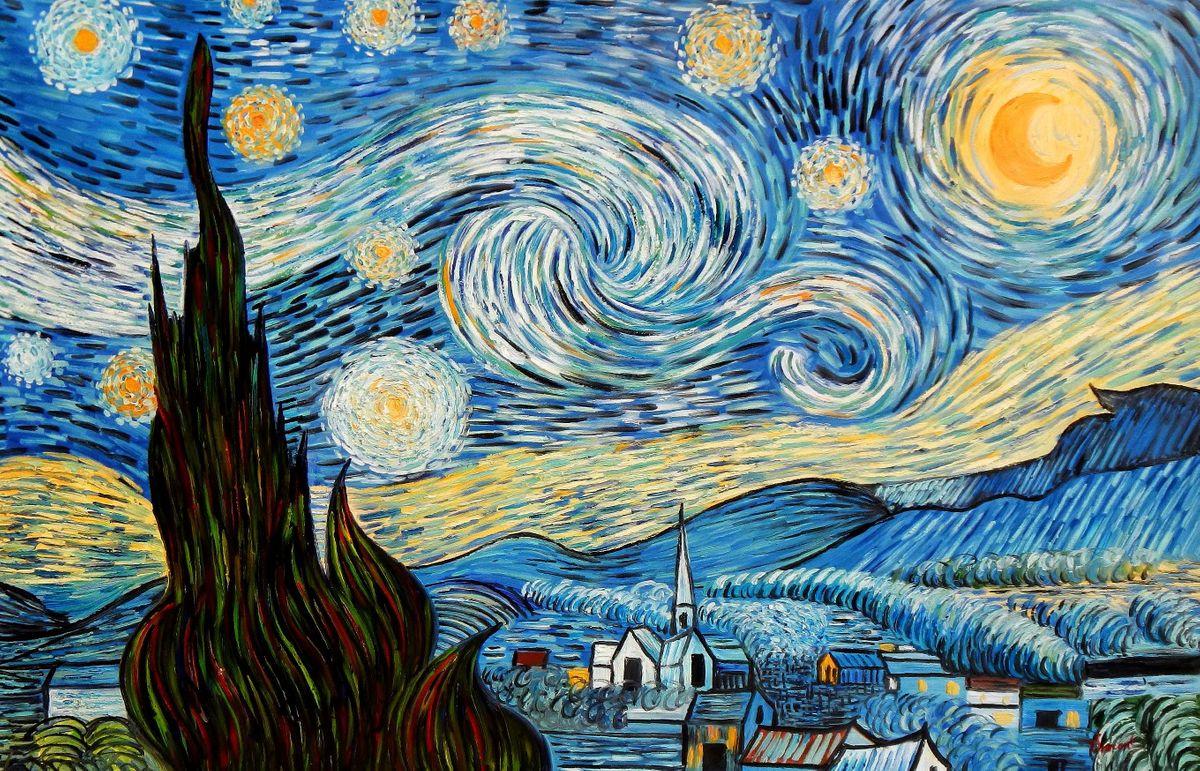 Vincent van Gogh - Sternennacht p96282 120x180cm exzellentes Ölgemälde handgemalt