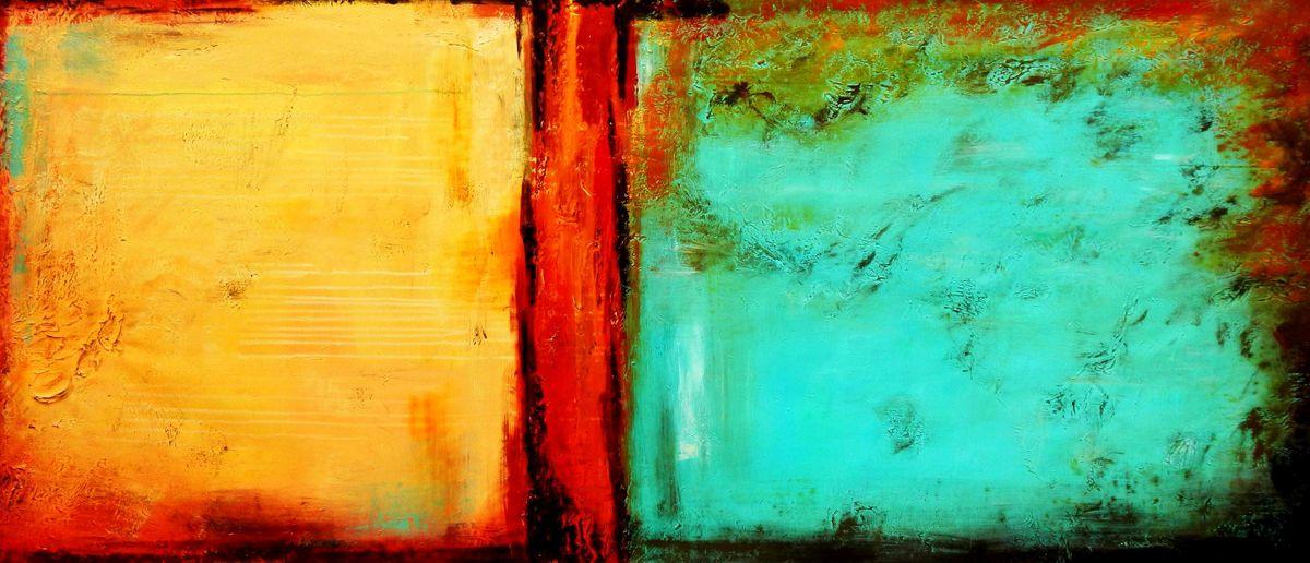 Abstract - Mirage in Babylon t96086 75x180cm abstraktes Ölbild