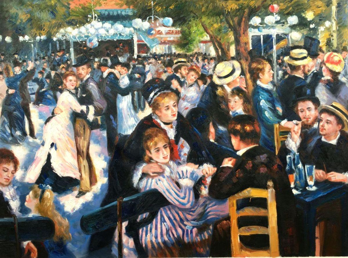 Pierre Renoir - Ball im Moulin de la Galette i96621 80x110cm imposantes Ölgemälde handgemalt Museumsqualität