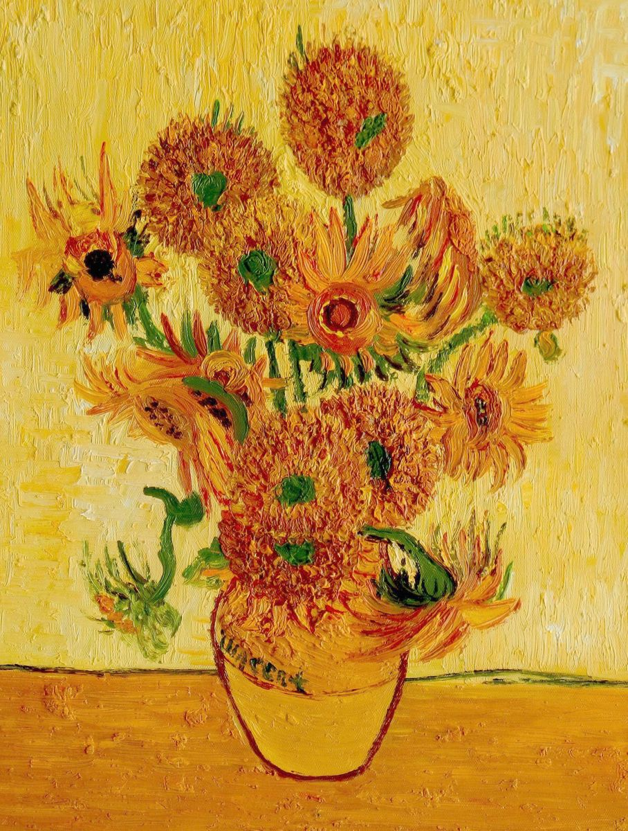 Vincent van Gogh - Fünfzehn Sonnenblumen a96629 30x40cm Ölgemälde handgemalt