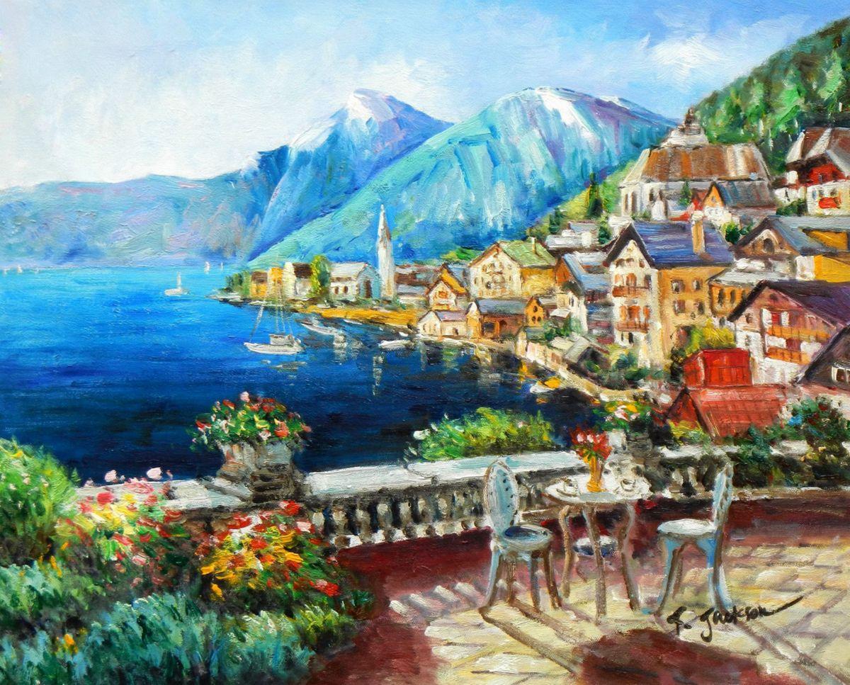 Hotelterrasse mit Meeresblick b96643 40x50cm abstraktes Gemälde handgemalt