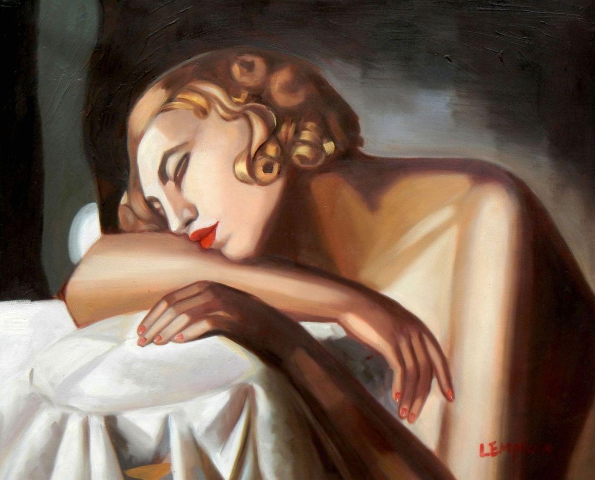 Homage of Tamara de Lempicka - Die Schläferin II b96644 40x50cm Art Deco Ölbild handgemalt