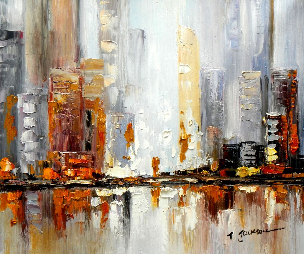 Abstrakt New York Manhattan Skyline im Herbst c96656 50x60cm abstraktes Ölbild