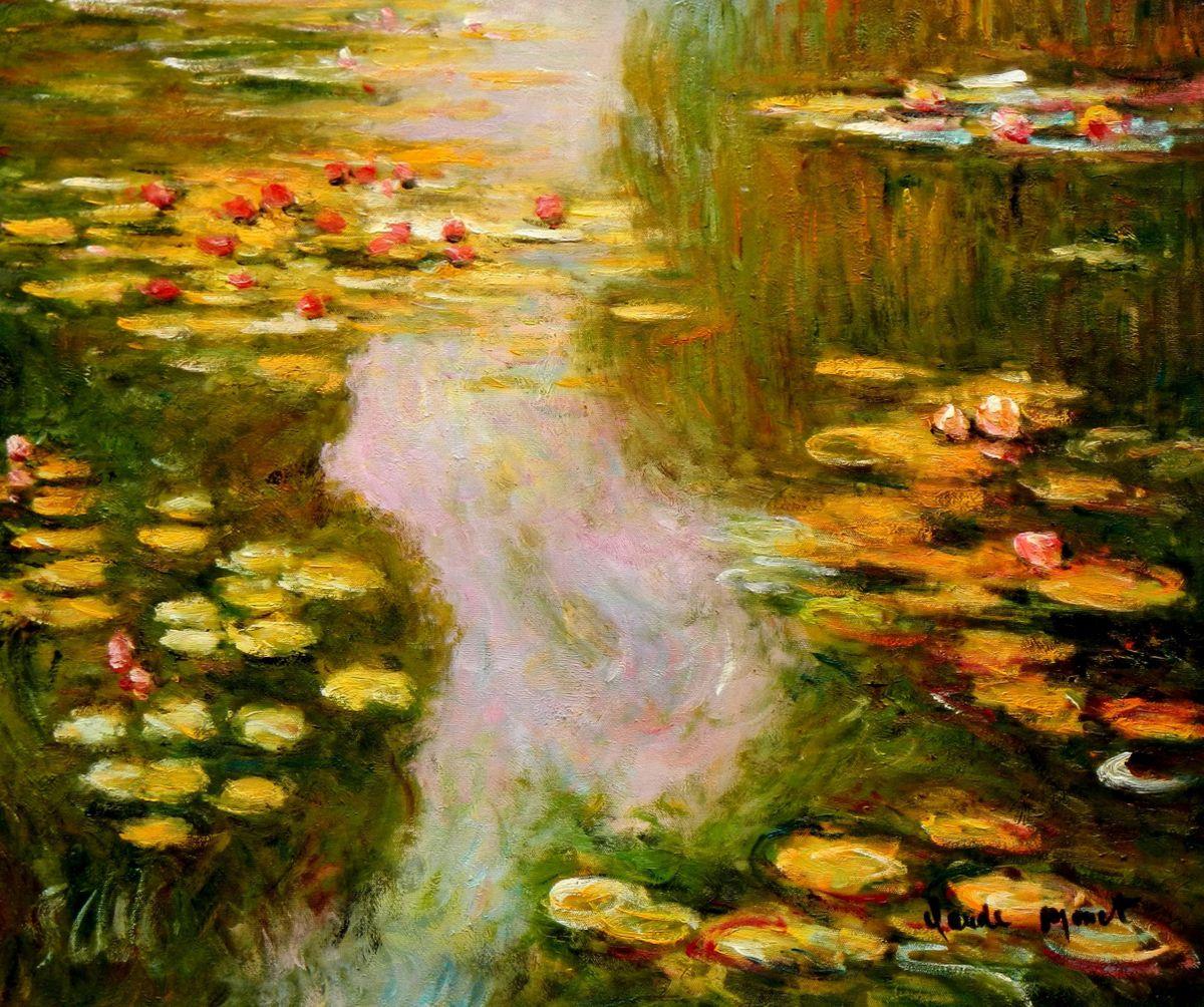 Claude Monet - Seerosen im Sommer c96657 50x60cm exquisites Ölbild