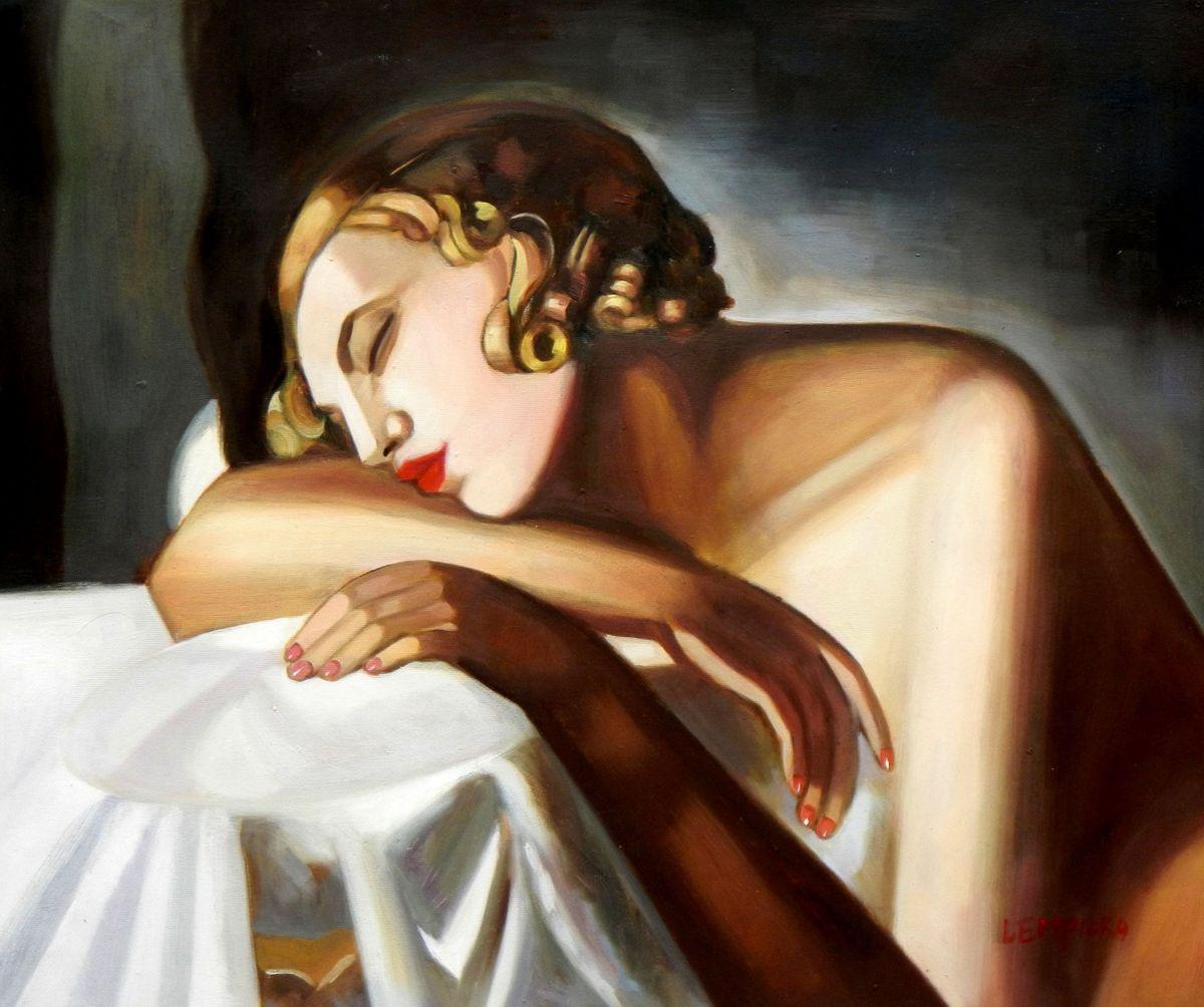 Homage of Tamara de Lempicka - Die Schläferin II c96668 50x60cm Art Deco Ölbild handgemalt