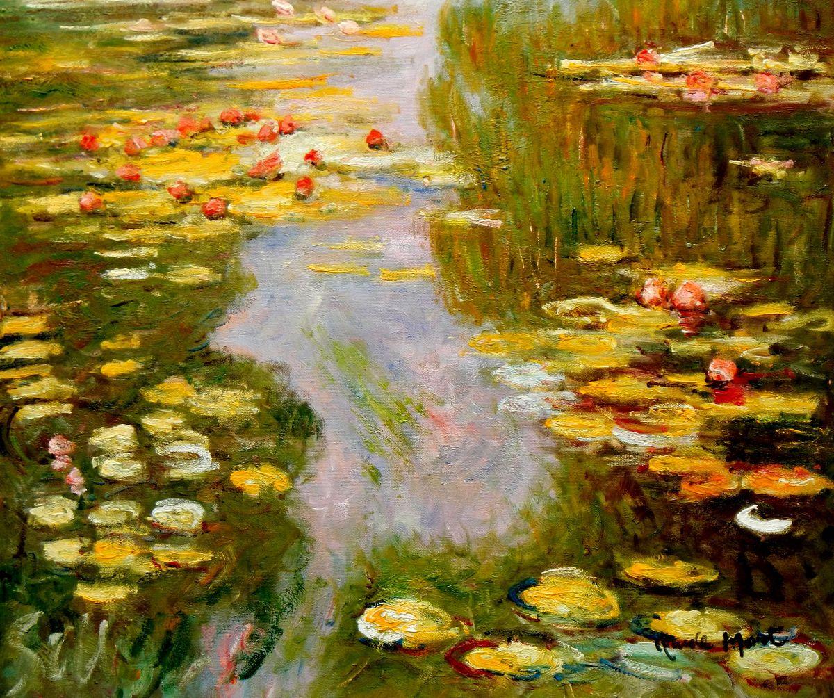 Claude Monet - Seerosen im Sommer c96673 50x60cm exquisites Ölbild