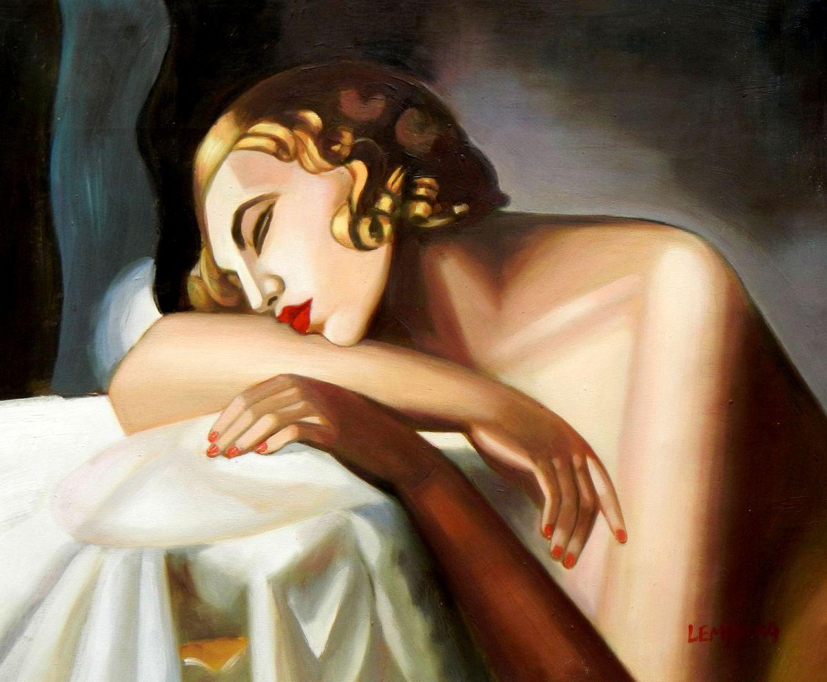 Homage of Tamara de Lempicka - Die Schläferin II c96675 50x60cm Art Deco Ölbild handgemalt