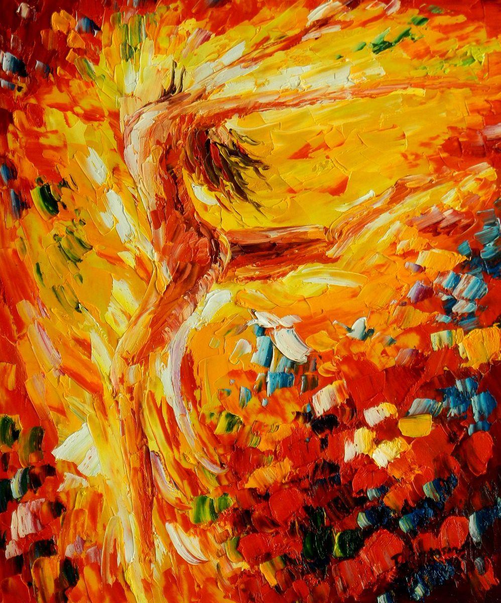 Modern Art - Passion der Tänzerin c96688 50x60cm abstraktes Ölbild