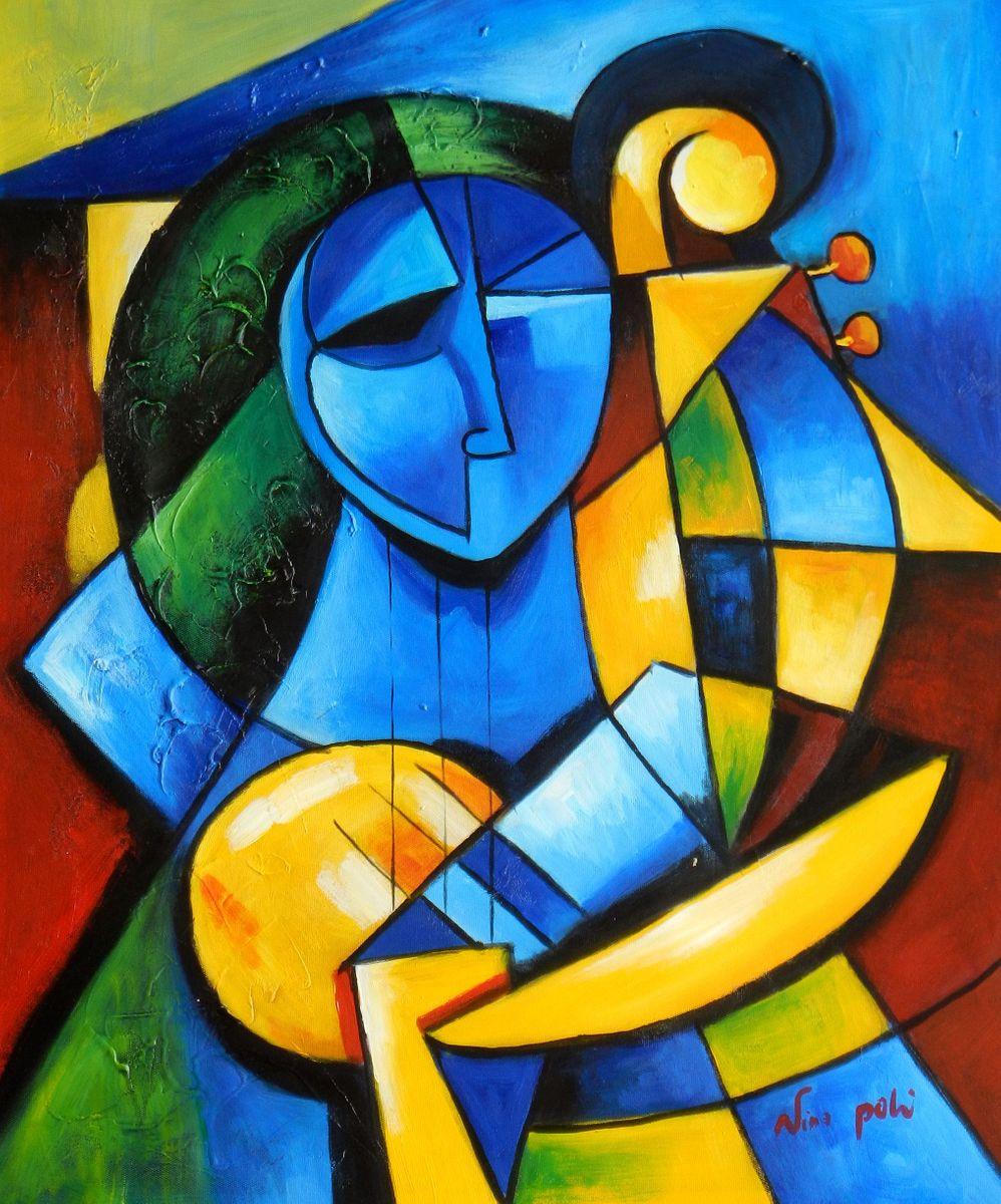 Frau mit Harfe c96690 50x60cm kubistisches Ölbild