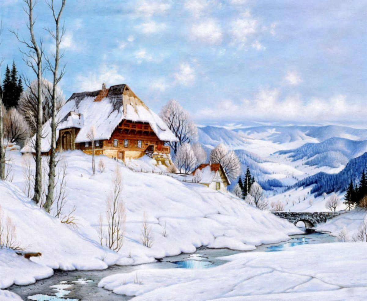 Karl Hauptmann - Bauerngehöft im Morgenlicht c96959 50x60cm exquisites Ölbild Museumsqualität