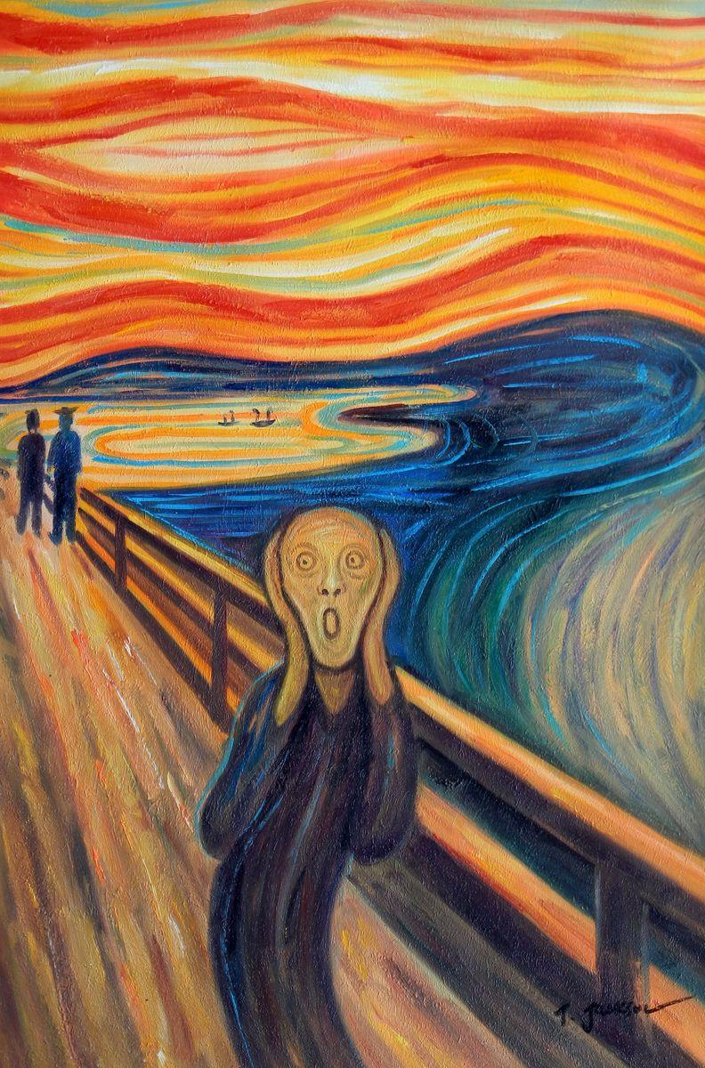Edvard Munch - Der Schrei d96714 60x90cm handgemaltes Ölgemälde