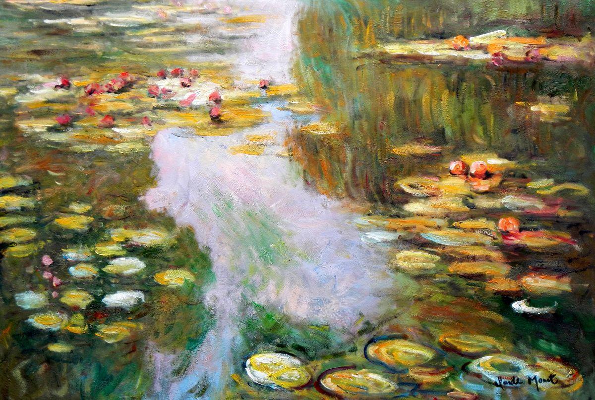 Claude Monet - Seerosen im Licht d96756 60x90cm exquisites Ölbild
