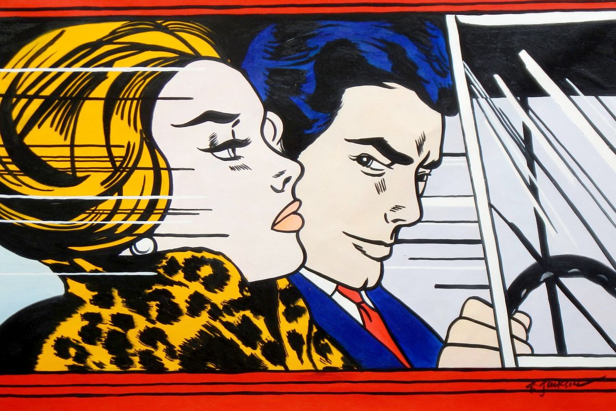 Homage to Roy Lichtenstein - In the car d96758 60x90cm modernes Ölgemälde