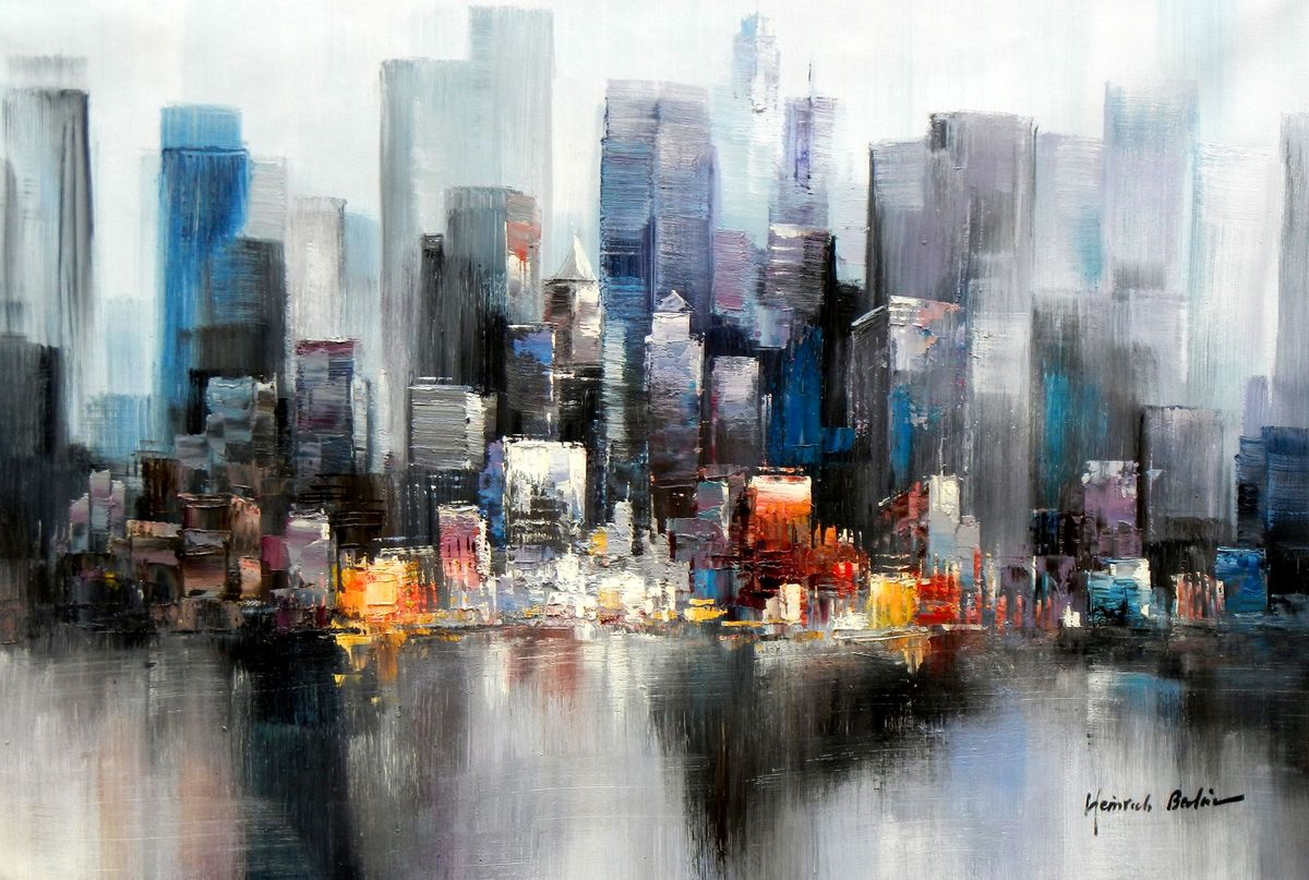 Abstrakt New York Manhattan Skyline im Winter II d96771 60x90cm Gemälde handgemalt