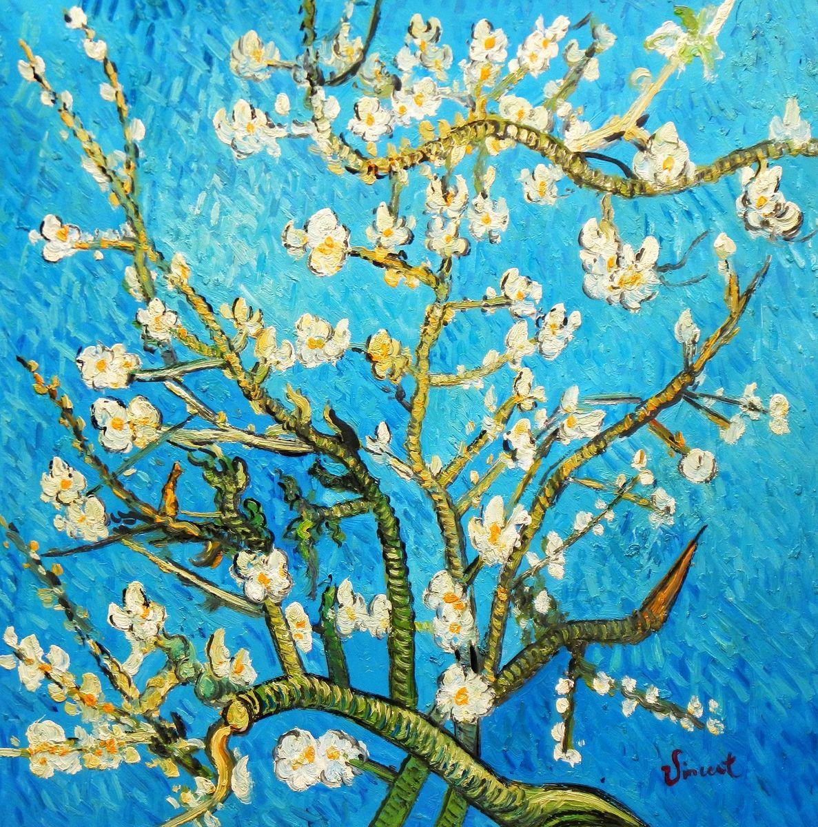 Vincent van Gogh - Äste mit Mandelblüten e96067 60x60cm Ölbild handgemalt