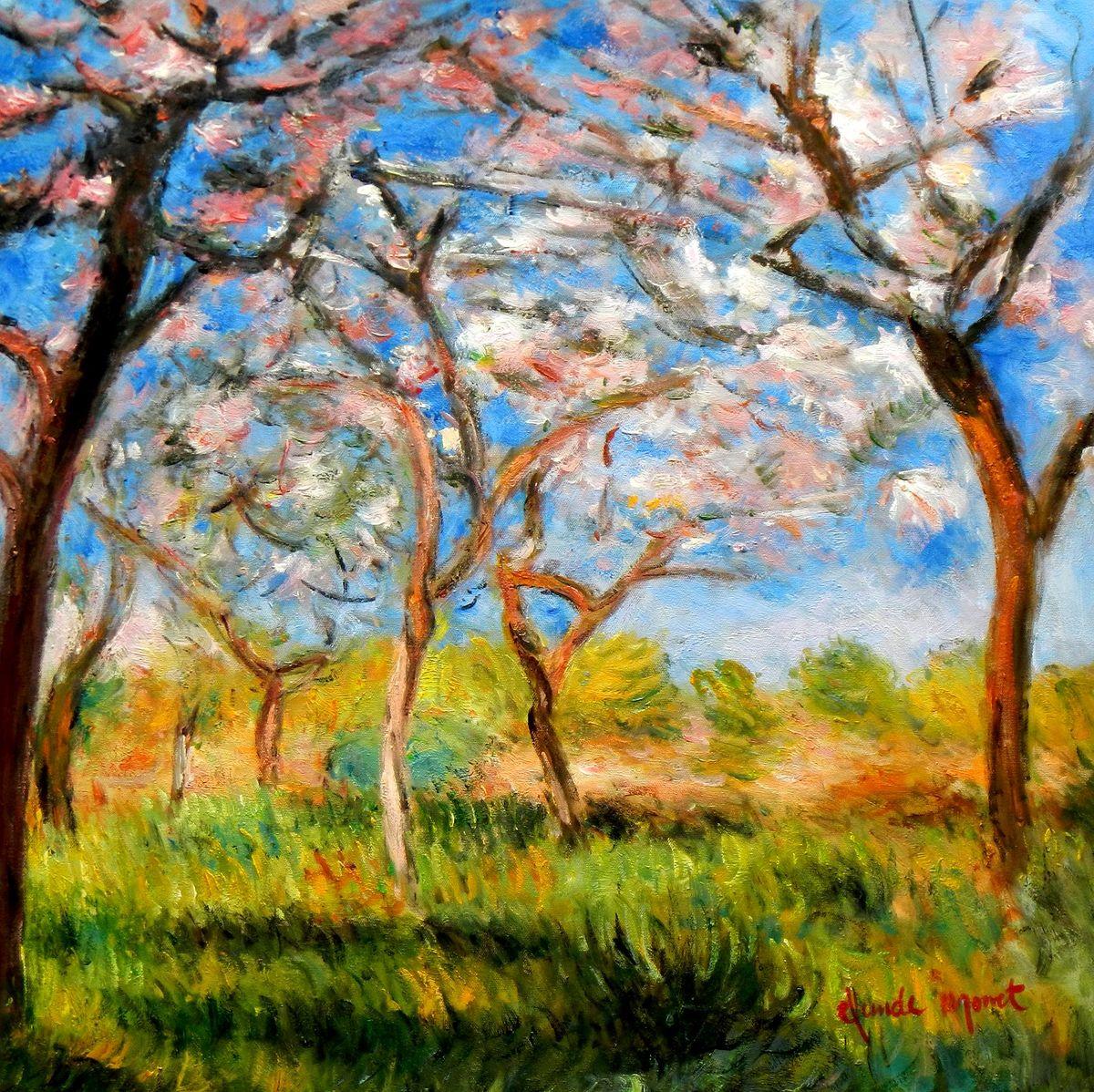 Claude Monet - Frühling in Giverny e96704 60x60cm exzellentes Ölgemälde