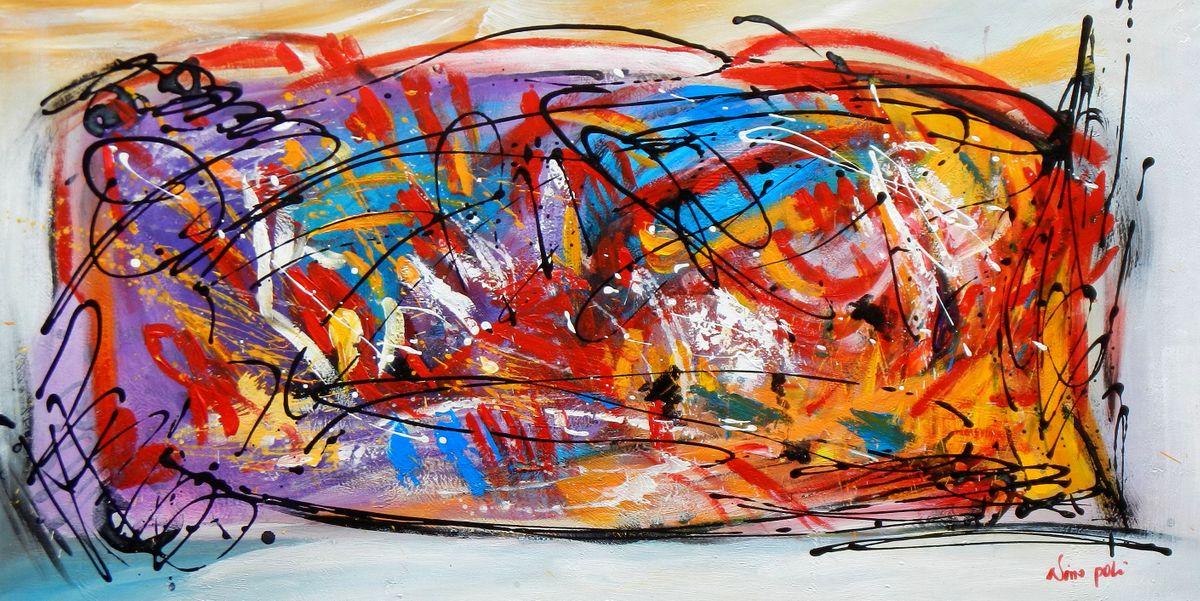 Abstrakt - Pollock Style Signatur (II) f96787 60x120cm 0