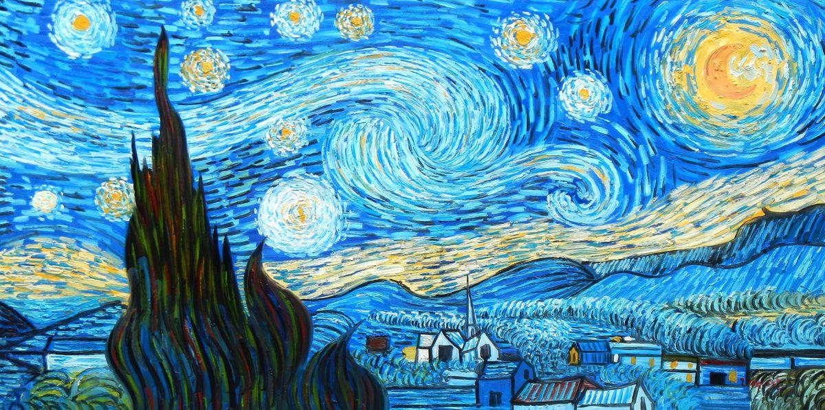 Vincent van Gogh - Sternennacht f96796 60x120cm exzellentes Ölgemälde handgemalt