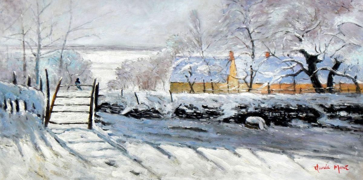 Claude Monet - Die Elster f96801 60x120cm handgemaltes Ölgemälde