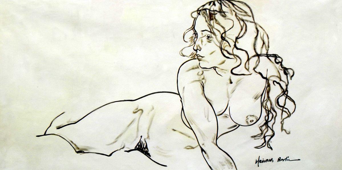 Egon Schiele - sich aufstützender Akt f96810 60x120cm Ölbild handgemalt