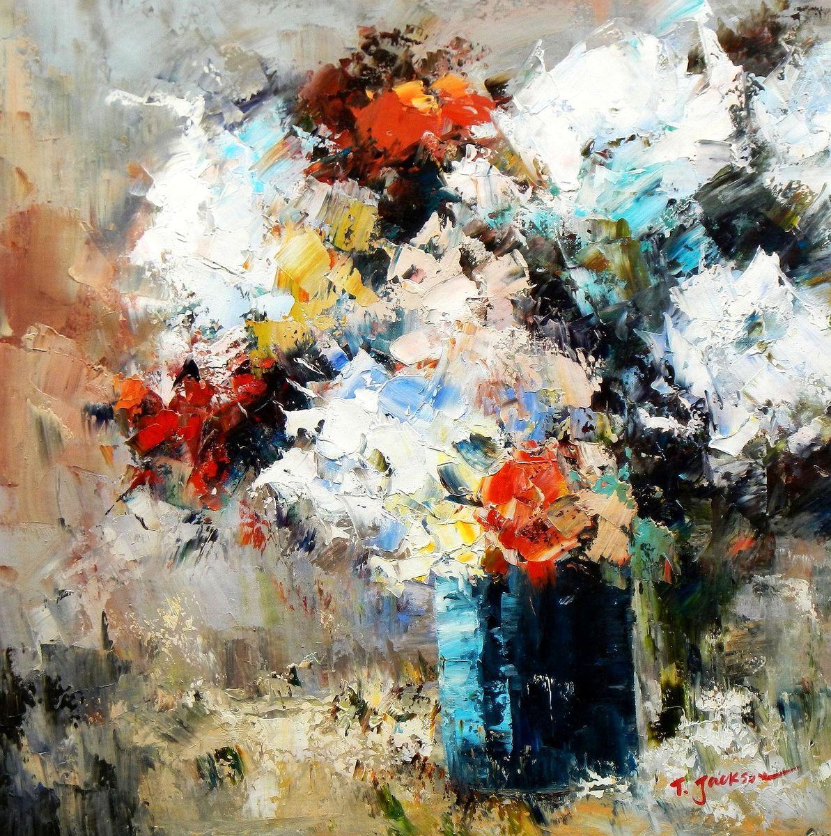 Modern Abstrakt - Vase mit bunten Blumen g96826 80x80cm abstraktes Ölbild handgemalt
