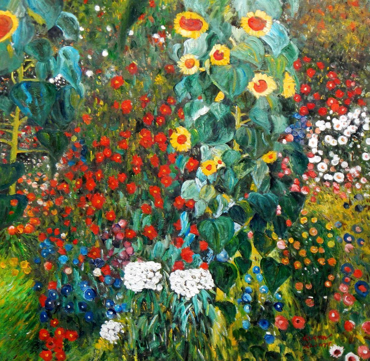 Gustav Klimt - Garten mit Sonnenblume g96829 80x80cm exzellentes Ölgemälde