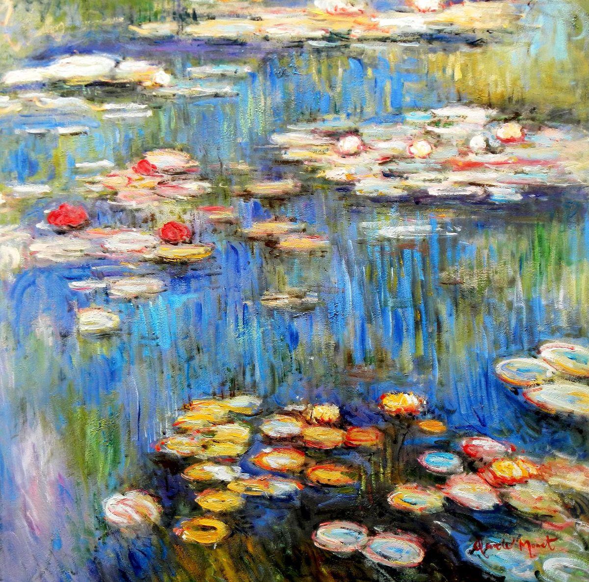 Claude Monet - Seerosen im Frühling g96830 80x80cm Ölgemälde handgemalt