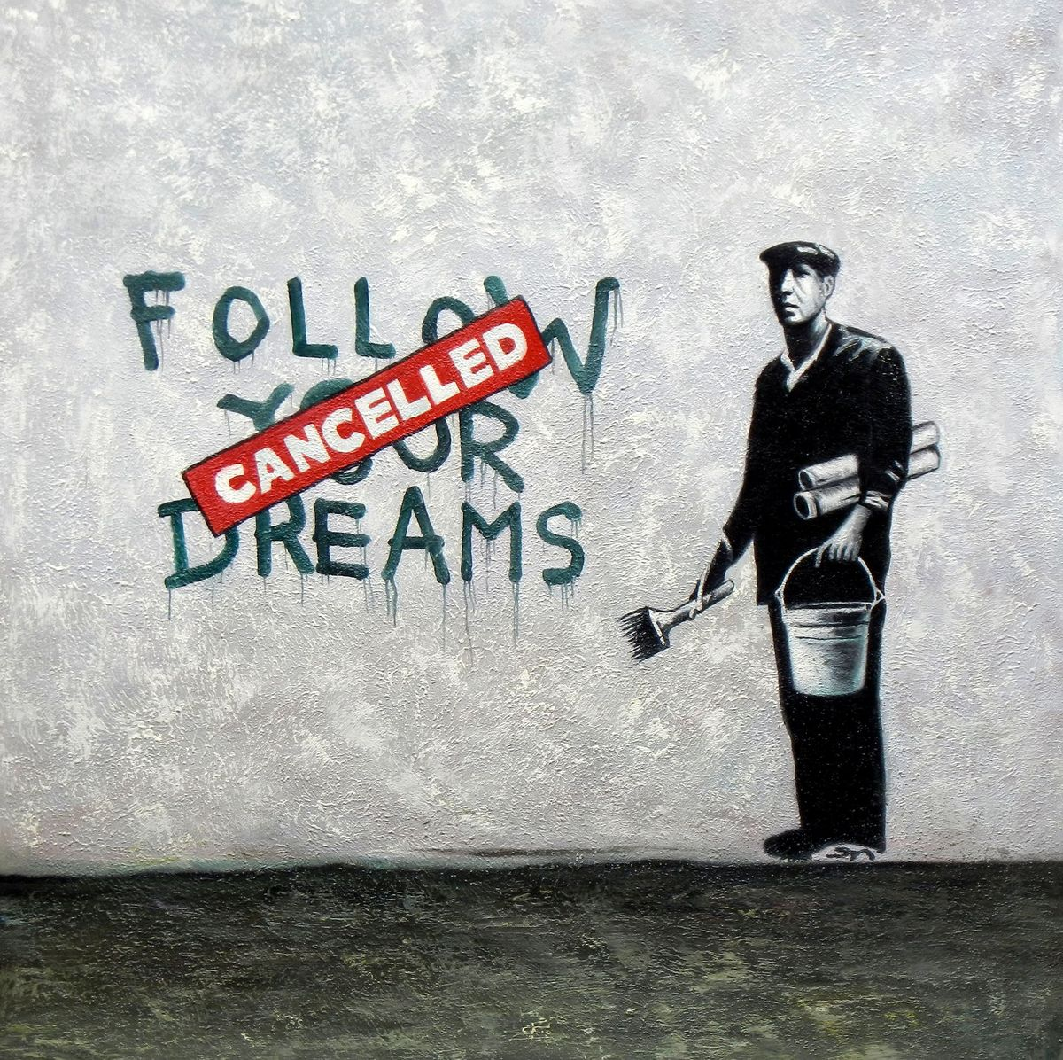 Homage to Banksy - Follow your Dreams g96834 80x80cm exquisites Ölbild