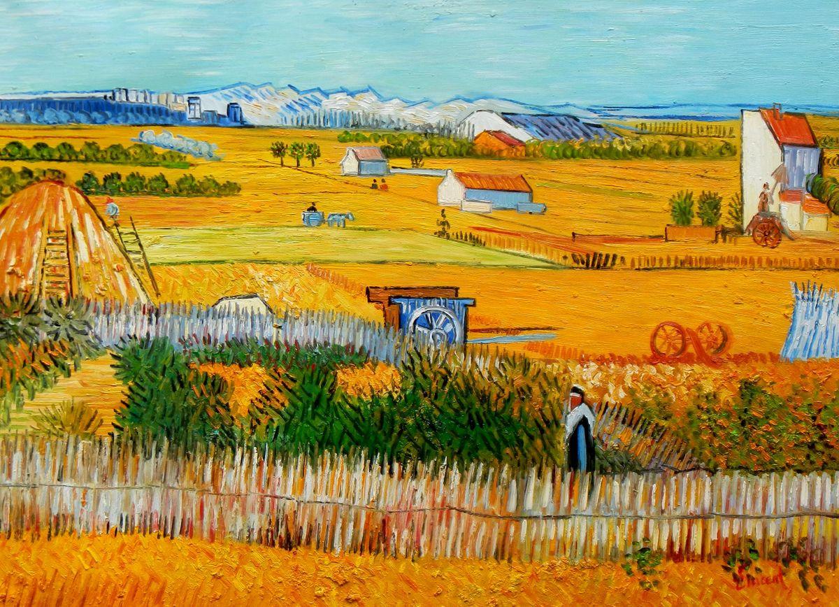 Vincent van Gogh - Erntelandschaft i96859 80x110cm Gemälde handgemalt