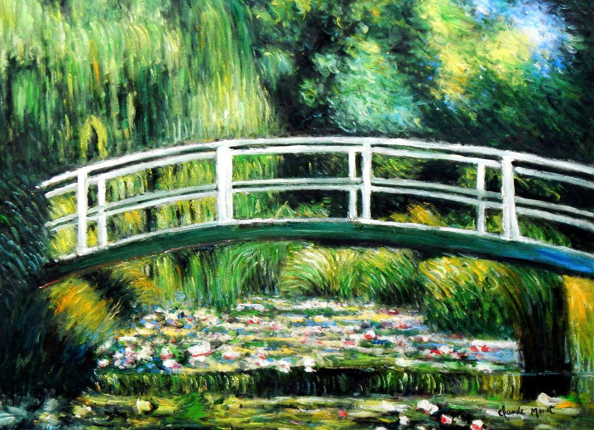 Claude Monet - Brücke über dem Seerosenteich i96864 80x110cm Ölbild handgemalt