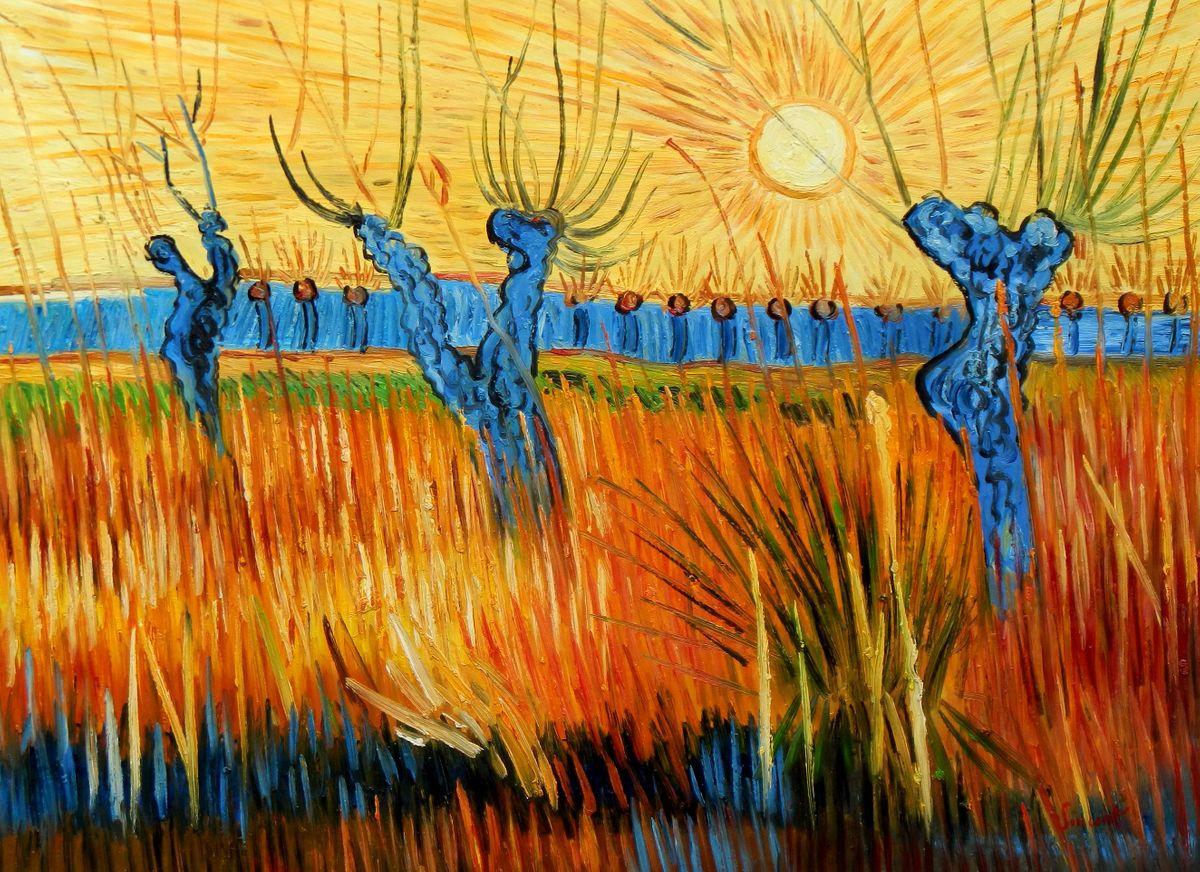 Vincent van Gogh - Weiden bei Sonnenuntergang i96867 80x110cm Ölbild handgemalt
