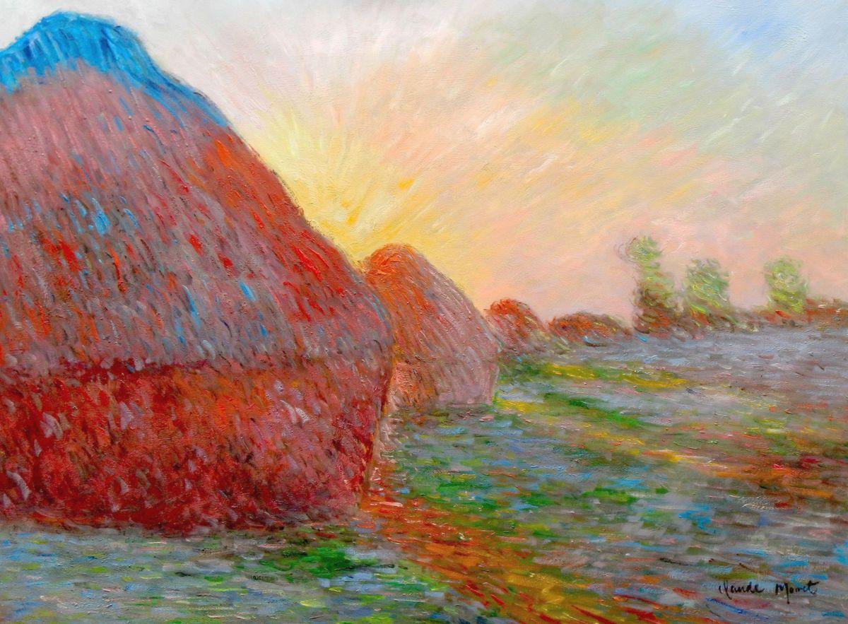 Claude Monet - Meules Heuhaufen i96870 G 80x110cm exzellentes Ölgemälde