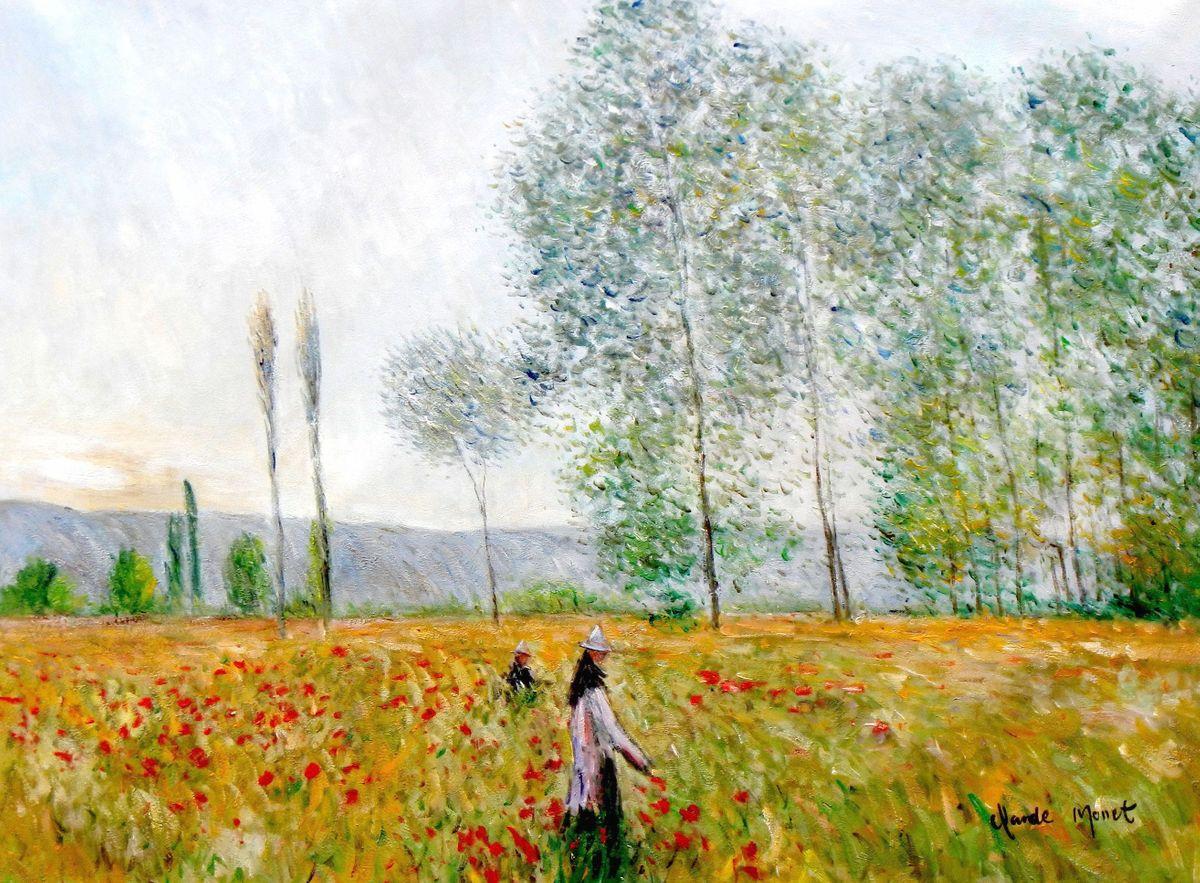 Claude Monet - Felder im Frühling i96871 80x110cm beeindruckendes Ölbild