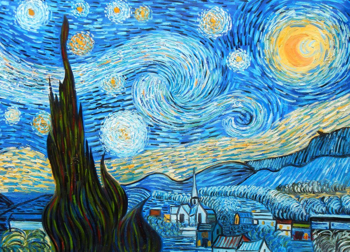 Vincent van Gogh - Sternennacht i96876 80x110cm exzellentes Ölgemälde handgemalt