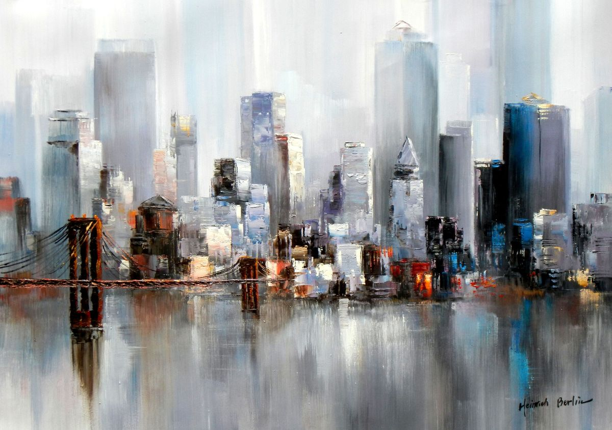 Abstrakt New York Manhattan Skyline im Winter II i96878 80x110cm Gemälde handgemalt