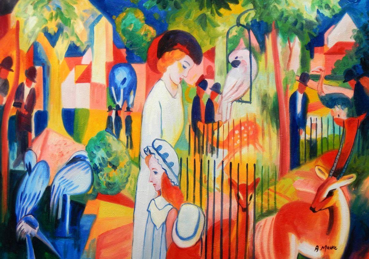 August Macke - Großer Zoologischer Garten i96880 80x110cm Ölbild handgemalt